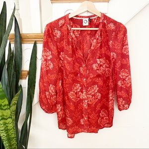 Anthro Akemi + Kin floral button down blouse red